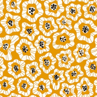 Abstract flowers hand drawn seamless color pattern