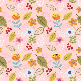 Abstract flowers and herbs seamless pattern