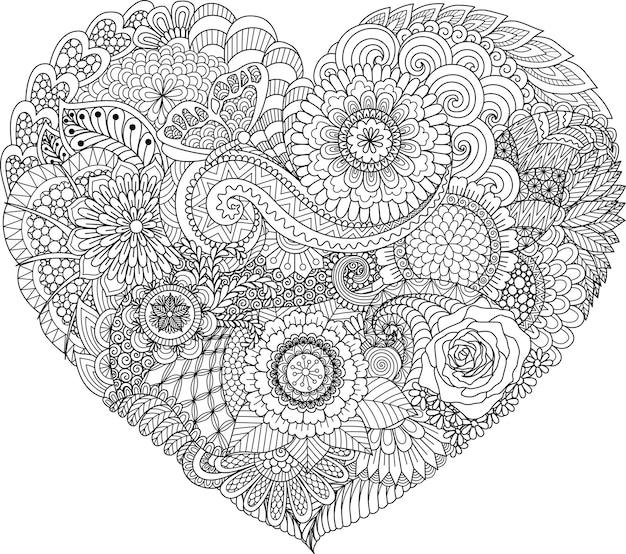 Abstract flowers and leaf in heart shape