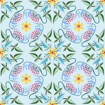 Abstract flowers and leaf seamless pattern background.