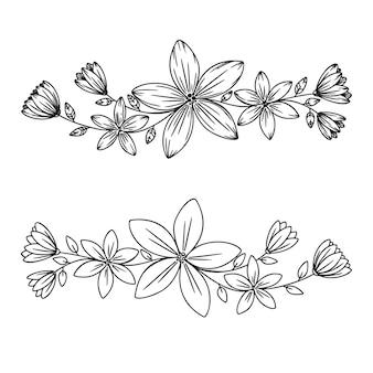 흰색 바탕에 추상 꽃입니다. 꽃과 잎이 있는 가지. 식물 스케치. 벡터 일러스트 레이 션
