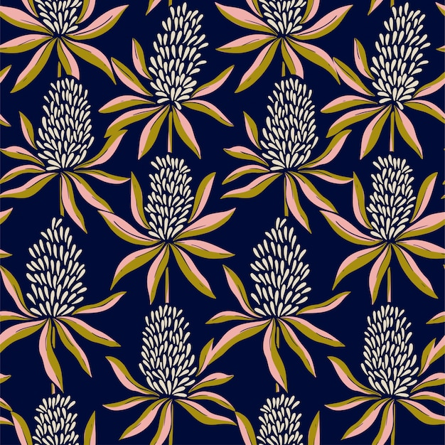 Abstract flowers seamless color pattern