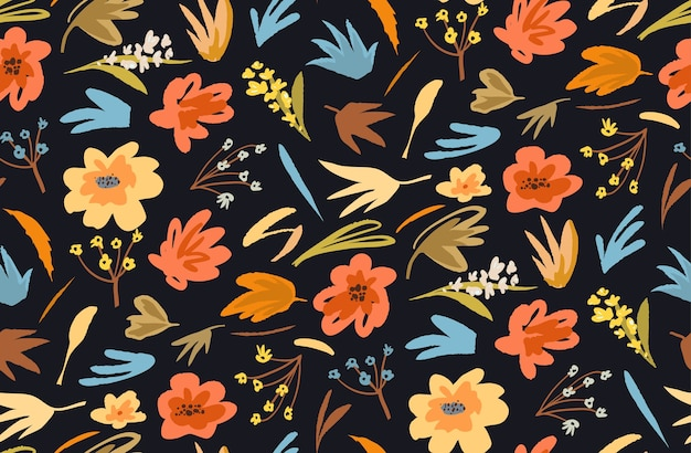 Abstract flowers seamless pattern for fabric on black