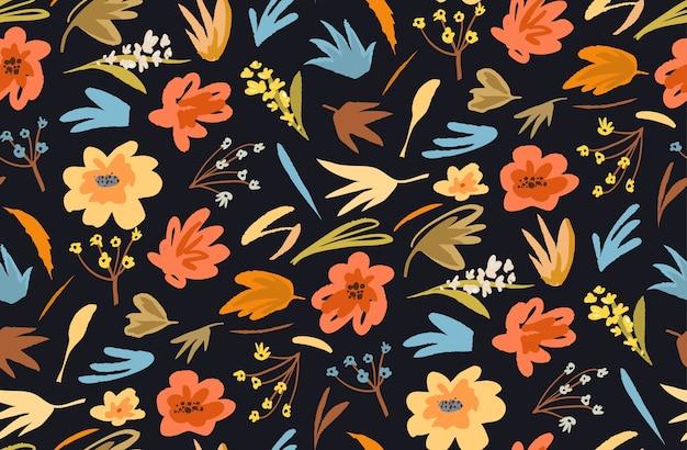 Абстрактные цветы бесшовные модели для ткани на черном