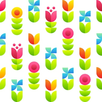 Abstract flowers seamless pattern - tulips, bellflowers and leaves