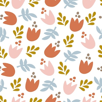 Abstract flowers silhouette flat vector seamless pattern. contemporary floral shapes on white background. modern drawing. creative print, wallpaper, wall art, textile.