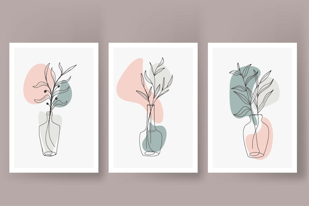 Abstract flowers in vase line art poster vintage style