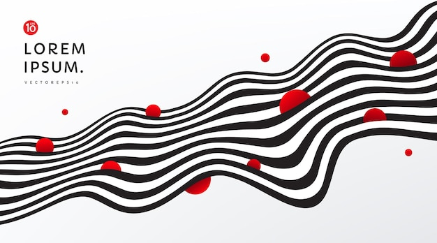 赤い円で黒と白のコントラストの背景を飾る抽象的な流れるようなストライプライン