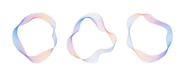 Abstract flowing wavy lines circle  gradient ring digital round frequency track equalizer vector
