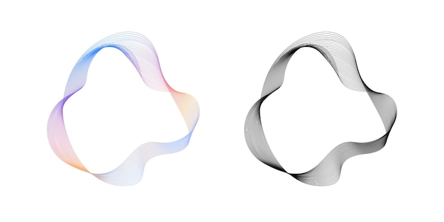 Abstract flowing wavy lines circle ring with rainbow gradient and black color round vecto