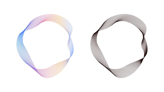 Abstract flowing wavy lines circle ring with rainbow gradient and black color vector