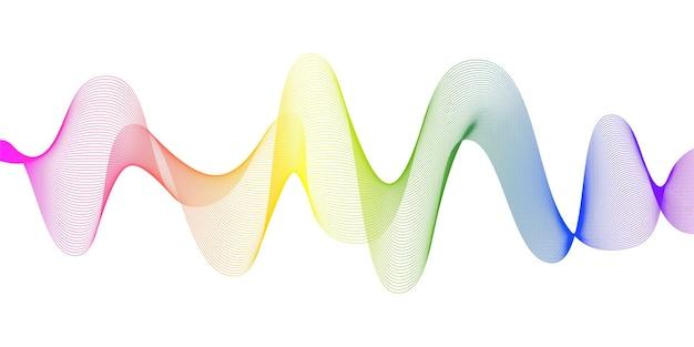 虹のグラデーションカラーで抽象的な流れる波線。デジタル周波数トラックと音声イコライザー。スタイリッシュなベクトルの背景