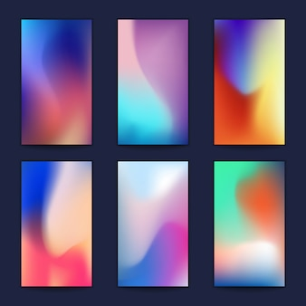 Abstract fluid 3d shapes  trendy liquid colors backgrounds set