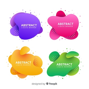 Abstract fluid banner set