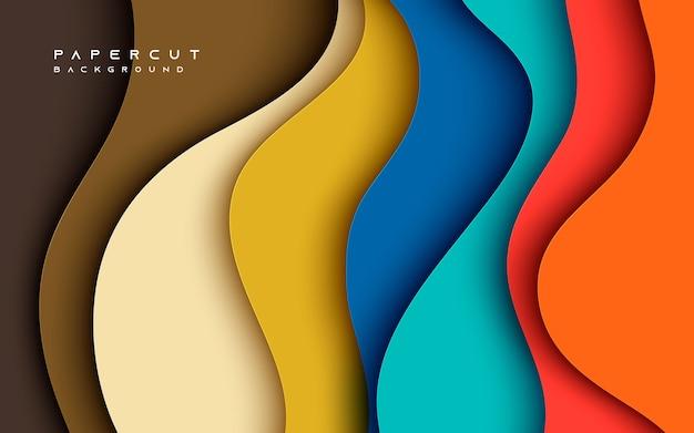 Абстрактный жидкий красочный фон papercut