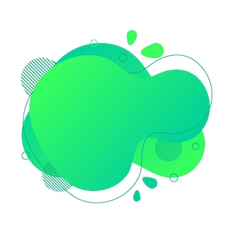 Abstract fluid design element. minimalistic background for text. wavy bubble banner, poster clipart with lines, dots. gradient liquid green flat shape. geometric color illustration. isolated vector