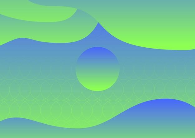 추상 유체 녹색, 파란색 그라데이션 배경 포스터