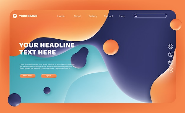 Abstract fluid landing page template