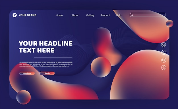 Abstract fluid landing page