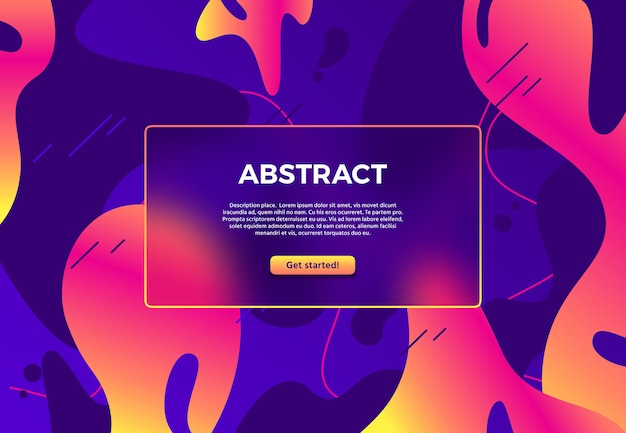 Abstract fluid liquid shapes, colorful violet and purple shape banner background