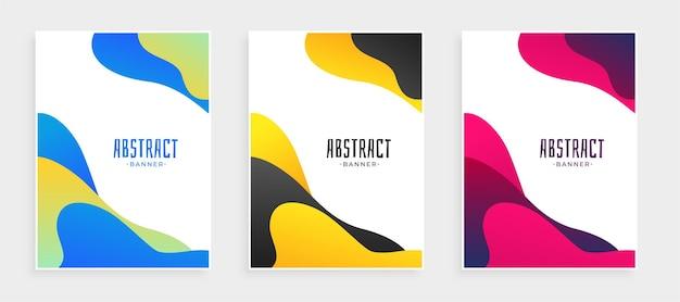 Набор абстрактных жидких форм современные баннеры