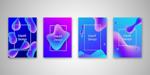 Abstract fluid shape templates set background collection.