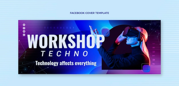 Abstract fluid technology facebook cover
