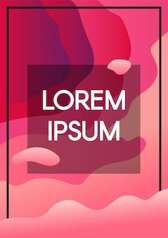 抽象的な流体は、テキストフレームの境界線とピンクの背景を波します。コピースペースカラーテンプレートのバナー