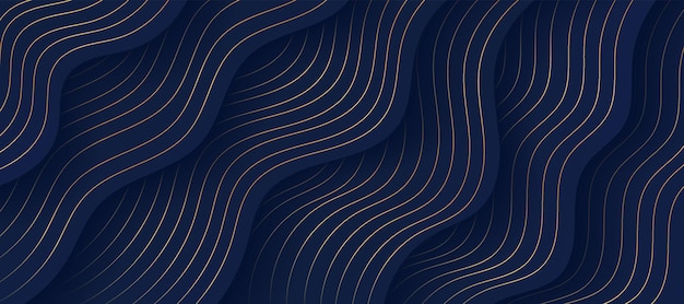 Abstract fluid wavy shape layers on dark navy blue background with luxury golden lines decorate