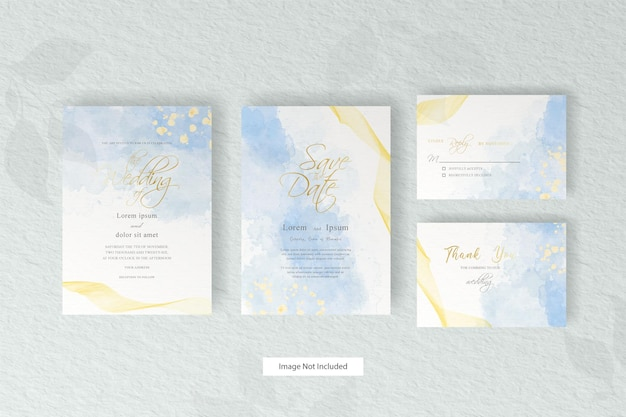 Abstract  fluid wedding invitation card template with  hand painted liquid watercolor decoration