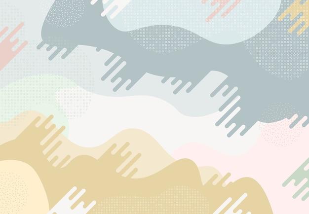 幾何学的な形のパステルカラーの背景を持つ抽象的な流体