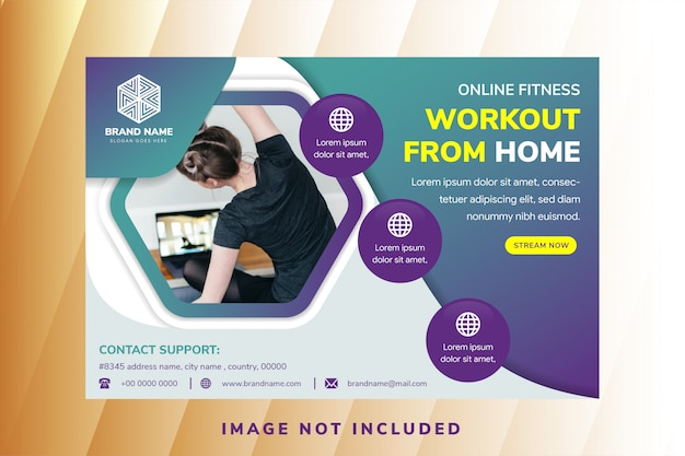 Abstract flyer for cross fit gym, generic design template with horizontal layout and hexagon space for photo. Premium Vector