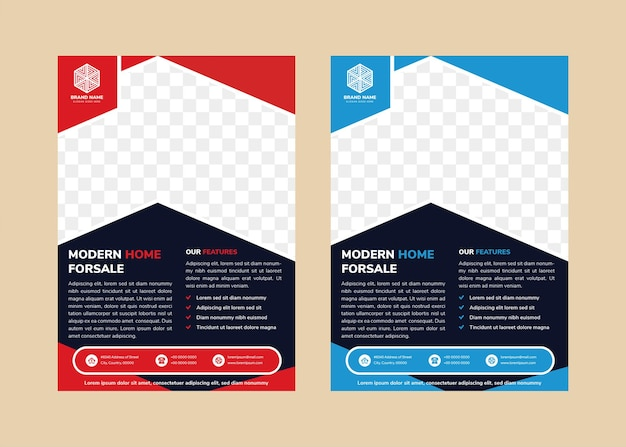Abstract flyer design template for modern home for sale with space for photo modern up arrow shape for photo red and blue on element vertical layout with blue background