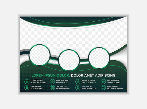 Abstract flyer template design with dummy text horizontal layout with dark green  background