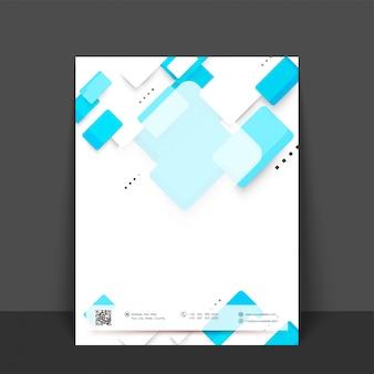 Flyer astratto, disegno di modello con elementi geometrici nei colori bianco e blu cielo.