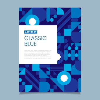 クラシックブルーの抽象的なチラシテンプレート