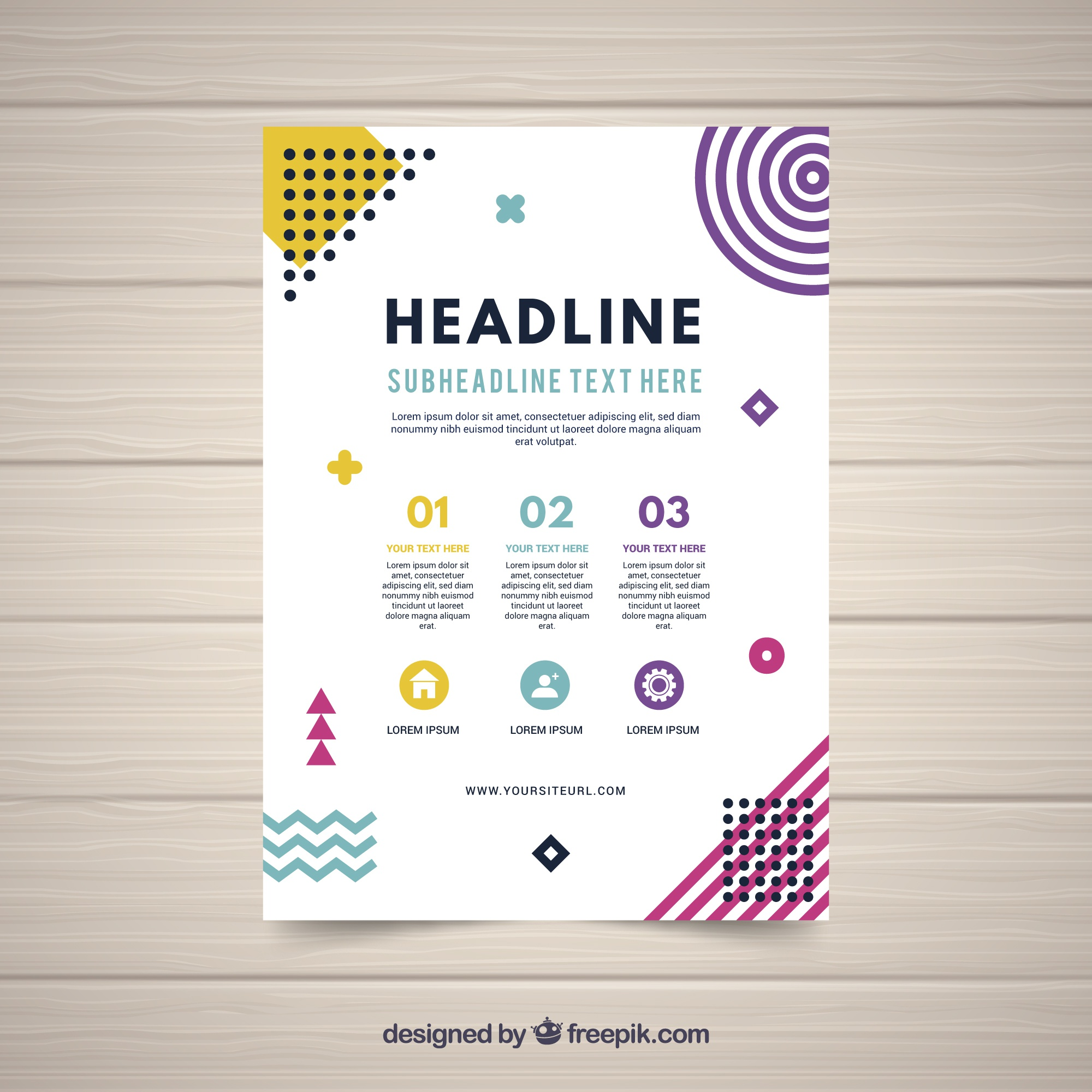 Abstract flyer template in flat style
