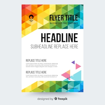 Abstract flyer template with colorful triangles