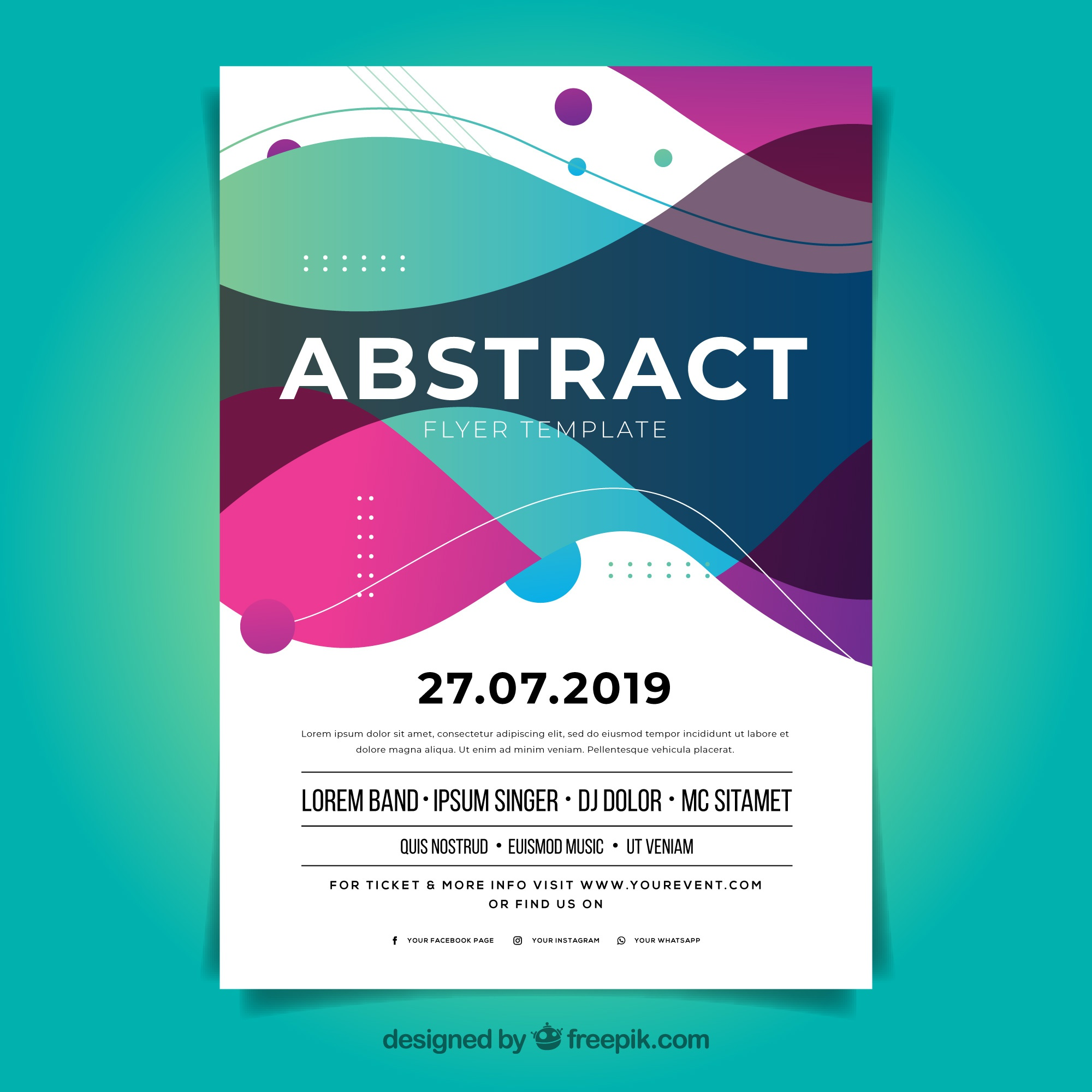 Abstract flyer template with flat design