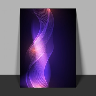Abstract flyer with flowing purple waves.
