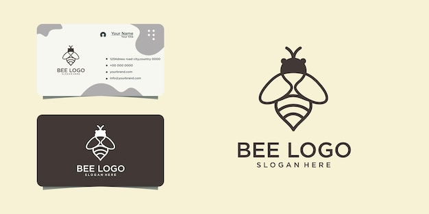 Abstract flying bee character logo design