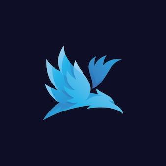Abstract flying bird wing spread logo