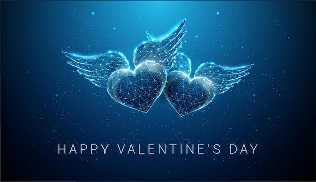 翼を持つ抽象的な空飛ぶ青いハート。幸せなバレンタインデーカード。