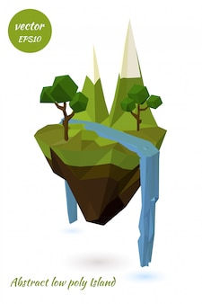 Abstract flying island. ecological symbol. illustration