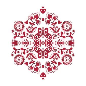 蝶と花の抽象的な民俗装飾 Premiumベクター