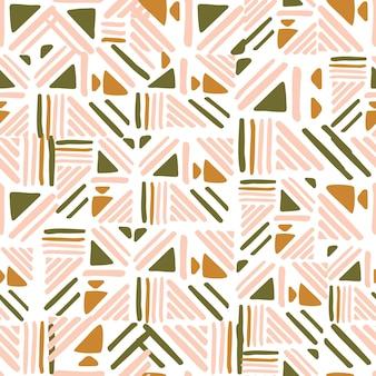 白い背景に抽象的なフォークのシームレスなパターン。織り線飾り。テキスタイルや本の表紙、壁紙、デザイン、グラフィックアート、ラッピングの背景。ベクトルイラスト