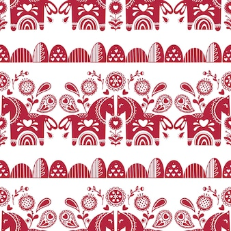 Abstract folk seamless pattern with hearts and animals