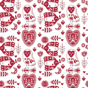 Abstract folk seamless pattern with hearts and birds