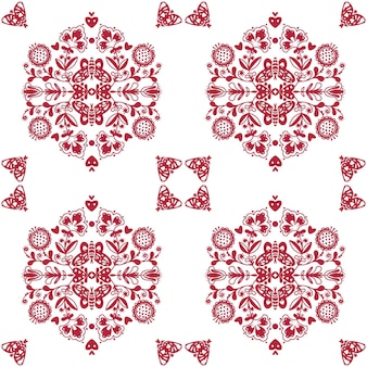 Abstract folk seamless pattern with hearts and butterflies