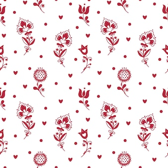 Abstract folk seamless pattern with hearts and decorative elements